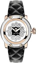 Glam Rock Women's Palm Beach 40mm Black Leather Band Rose Gold Plated Case Quartz White Dial Watch GR40415