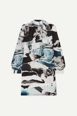 Alexander McQueen Printed Silk Crepe De Chine Mini Dress - Blue