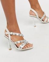 Asos Design DESIGN Novella embellished heeled sandals in ivory