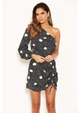 AX Paris Women's Polka Dot One Shoulder Dress with Side Ruched Detail