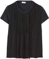 Jil Sander Two-tone Pleated Satin And Cotton-jersey Top - Black