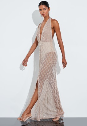 Missguided Nude Silver Drop Pearl Embellished Halterneck Maxi Dress