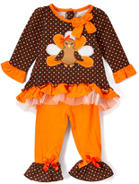 Orange & Brown Ruffle Turkey Top & Leggings - Infant, Toddler & Girls