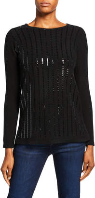 Neiman Marcus Sequin Stripe Boat-Neck Cashmere Sweater