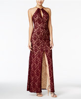 B. Darlin Juniors' Halter Lace A-Line Gown