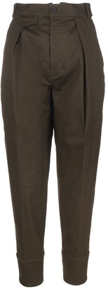 DSQUARED2 Military Green Woman Balloon Pants With High Waist