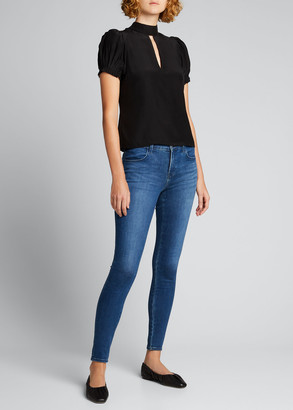 Frame Pleated Mock-Neck Party Top