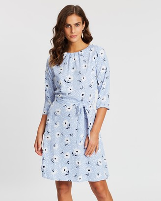 Dorothy Perkins Daisy Print Pleat Neck Dress