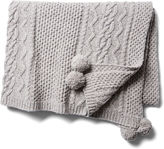 One Kings Lane Cable Knit Pom Pom Throw, Gray