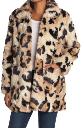Love Token Kian Leopard Print Faux Fur Coat