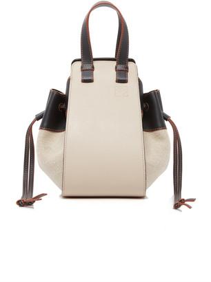 Loewe Hammock Small Drawstring Linen and Leather Bag