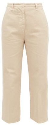 Prada High-rise Front-pleat Straight-leg Jeans - Beige