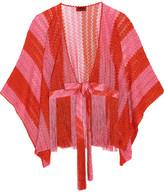 Missoni Mare Fringed Metallic Crochet-knit Kimono - Bubblegum