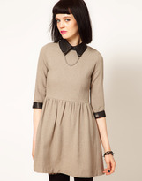 Sister Jane Tweed Skater Dress with Faux Leather Collar and Studs