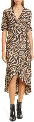 Ganni Tiger Stripe Print Wrap Midi Dress