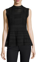 M Missoni Sleeveless Mock-Neck Peplum Top