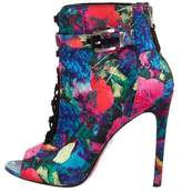 Brian Atwood Satin Peep-Toe Ankle Boots