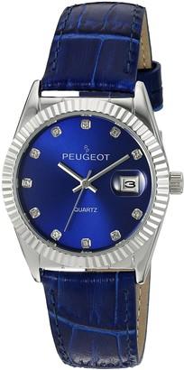Peugeot Women's Dress Quartz Watch with Coin Edge Bezel Date Window & Leather Band