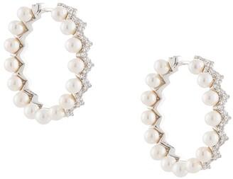APM Monaco Pearl Zigzag Hoop Earrings