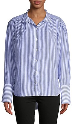 Frame Striped Pleated Cotton Shirt