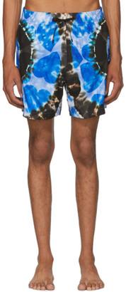 Amiri Blue Hearts Tie-Dye Swim Shorts