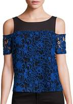 Cooper & Ella Women's Emma Midnight Floral Cold Shoulder Top
