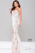 Jovani High Slit One Shoulder Applique Dress JVN41458