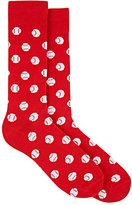 Barneys New York MEN'S BASEBALL-PATTERN MID-CALF SOCKS-RED