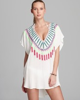 Medicine Wheel Embroidered Poncho Cover Up