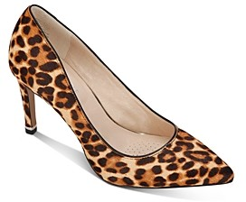 Kenneth Cole Women's Riley Animal-Print Calf Hair Pointed-Toe Pumps