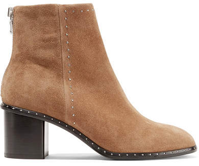 Rag & Bone Willow Studded Suede Ankle Boots - Camel