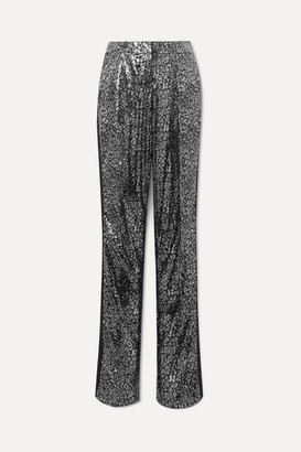 Redemption Satin-trimmed Leopard-print Sequined Tulle Straight-leg Pants - Black
