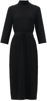 A.P.C. Vivianne Drawstring-waist Merino Wool Dress - Womens - Black