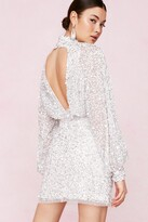 Thumbnail for your product : Nasty Gal Womens Bridal Balloon Sleeve Embellished Mini Dress - White - 4