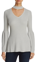 Heather B Choker-Neck Bell-Sleeve Sweater