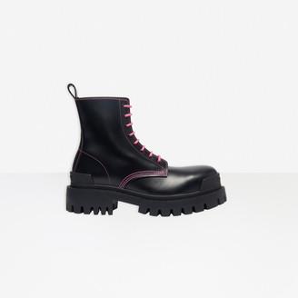 Balenciaga Strike 20mm Lace-up Boot in black matte calfskin