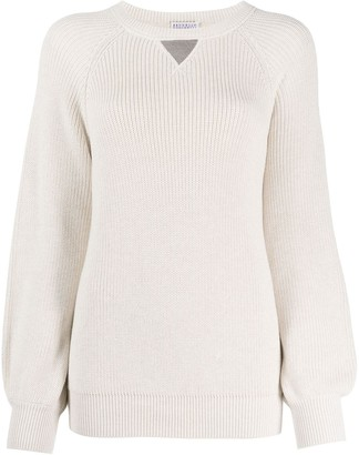 Brunello Cucinelli Ribbed Knit Bell Sleeve Jumper