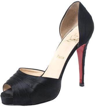 Christian Louboutin Black Satin Ruffle Detail Peep Toe D'orsay Pumps Size 40.5