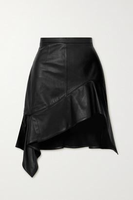 Alexander Wang Asymmetric Ruffled Leather Mini Skirt - Black