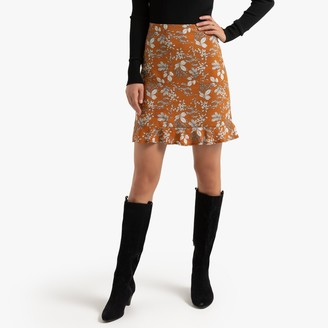 La Redoute Collections Floral Print Straight Skirt with Small Ruffles