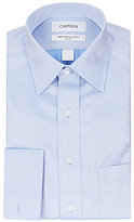 Daniel Cremieux Non-Iron Fitted Classic-Fit Spread Collar Solid Herringbone Dress Shirt with French Cuffs