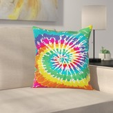 "Rainbow Tie Dye Grunge Square Pillow Cover East Urban Home Size: 16"" x 16"""