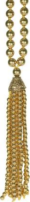 Kenneth Jay Lane 34-18KT Gold Plate Bead Tassel Necklace
