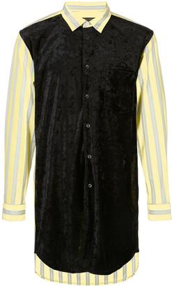 Comme des Garcons Striped Velvet-Front Shirt