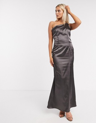 TFNC Bridesmaid one shoulder satin maxi dress in bronze