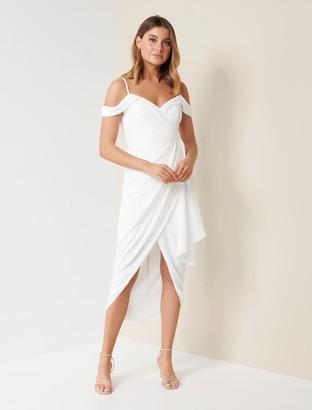 Forever New Hadley Waterfall Midi Dress - Porcelain - 10