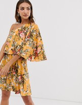 Asos Design DESIGN one shoulder pleated crop top mini dress in floral print