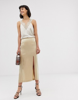 And other stories & satin side split skirt in light beige-Cream