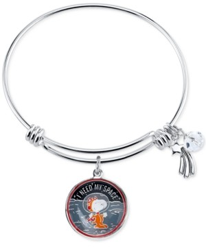 Peanuts Unwritten Astronaut Snoopy Fine Silver Plated Charm Bangle Bracelet Silver Plated