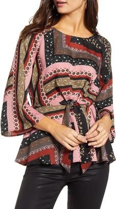 Vero Moda Verma Scarf Print Tie Front Blouse